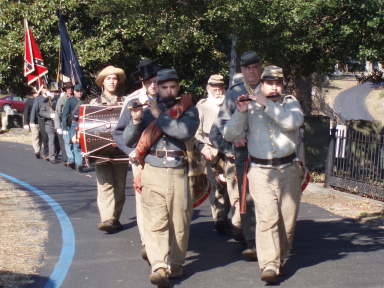 Honor guard marching in